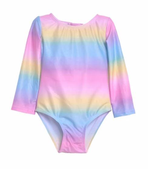 Flap Happy Rainbow Ombre Rashguard Swimsuit