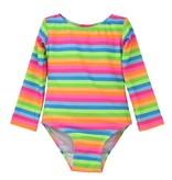 Flap Happy Neon Striped Rashguard Swimsuit