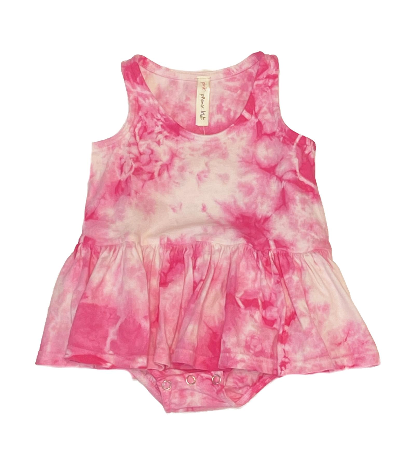 Pink Peony Pink Tie Dye Skirted Onesie