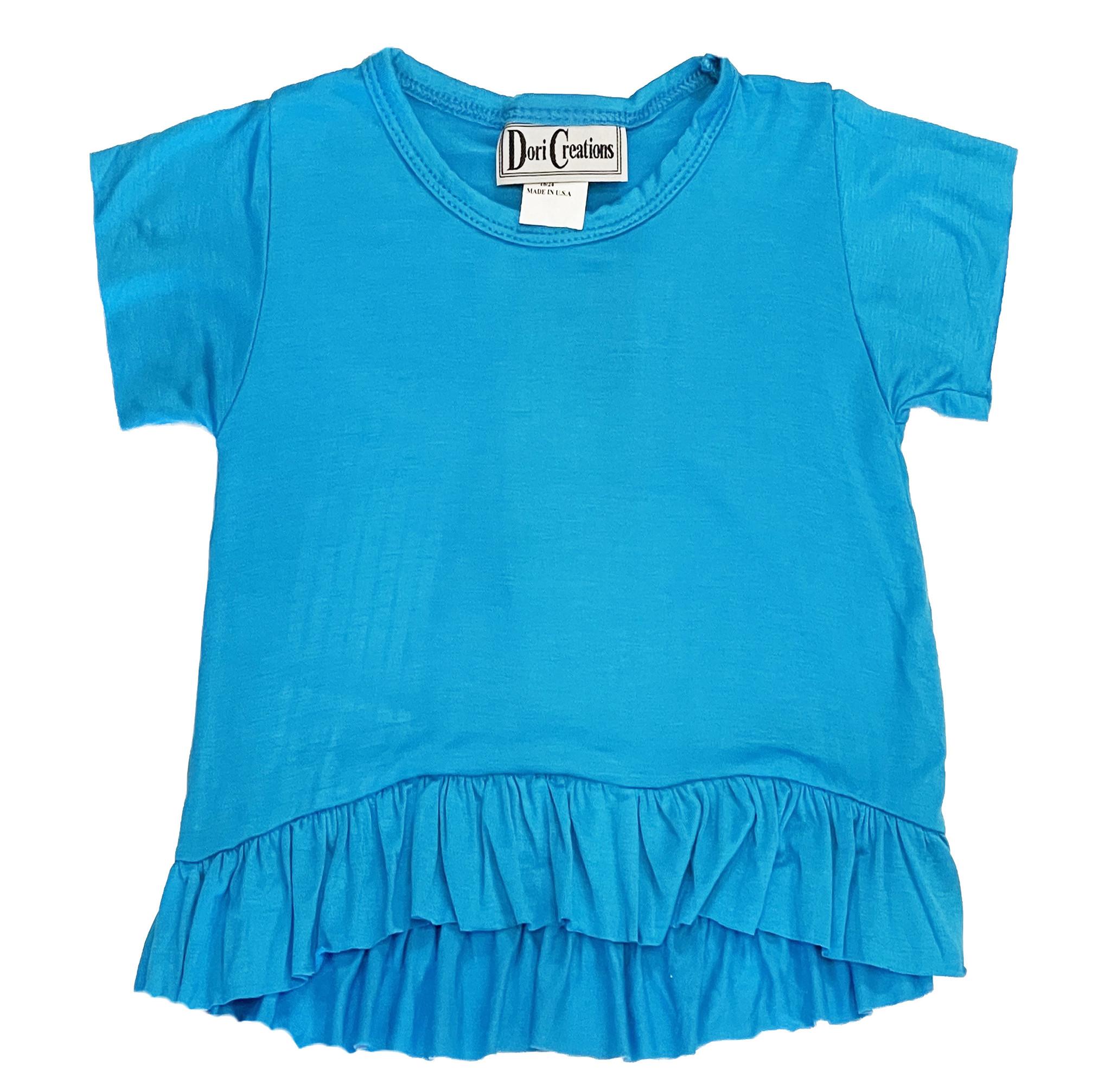 Dori SS Turquoise Ruffle Top