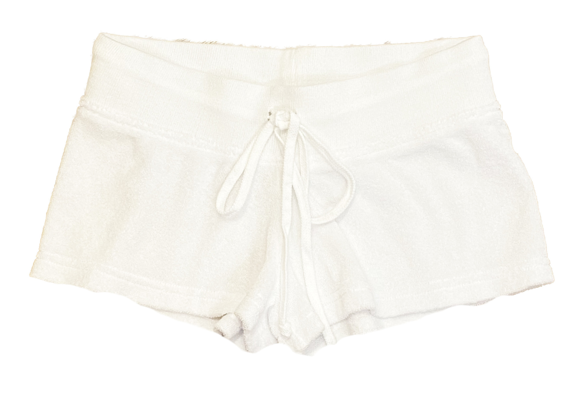 Hard Tail Low-Rise White Terry Shorts