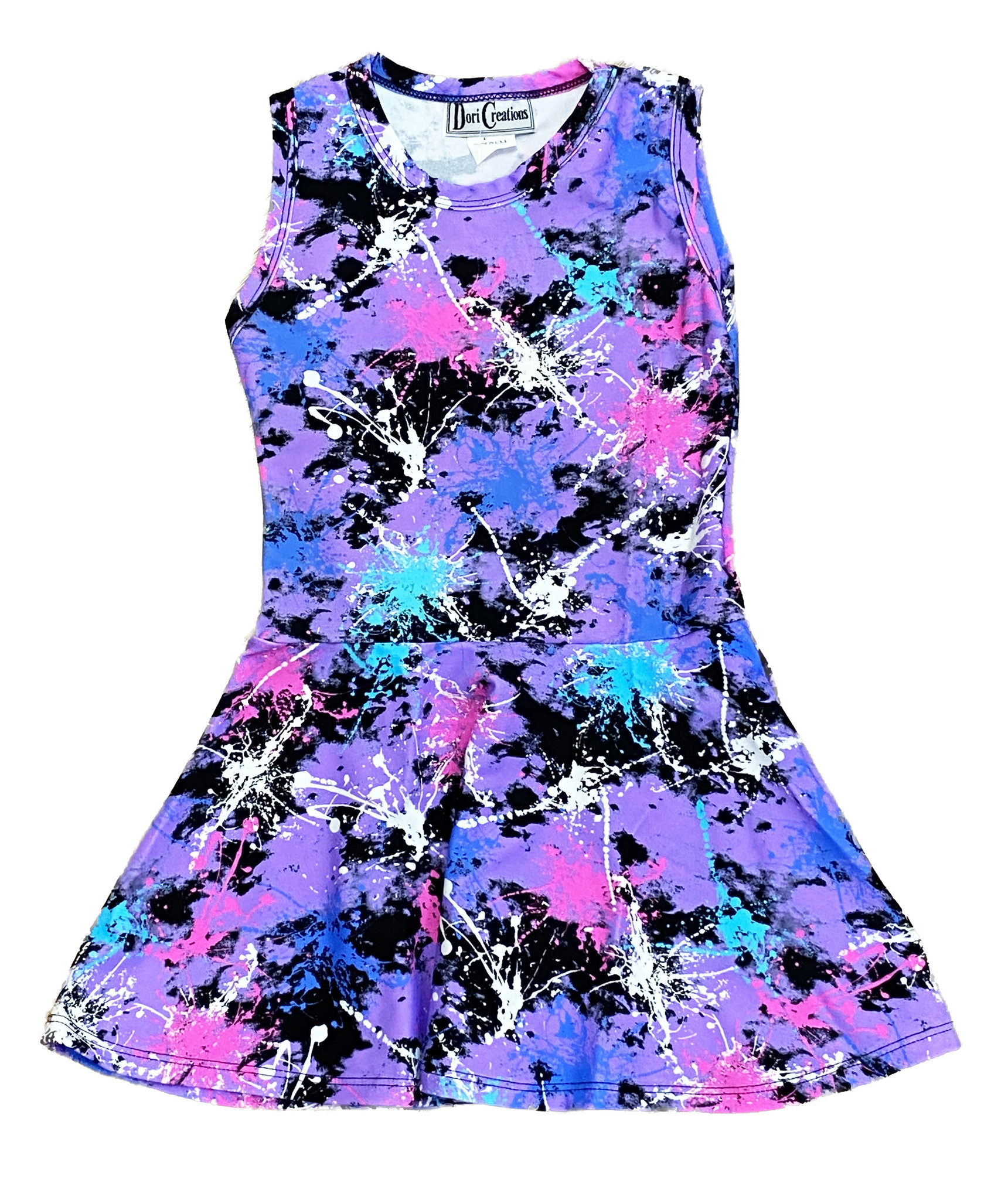 Dori Violet Multi Splatter Sleeveless Dress