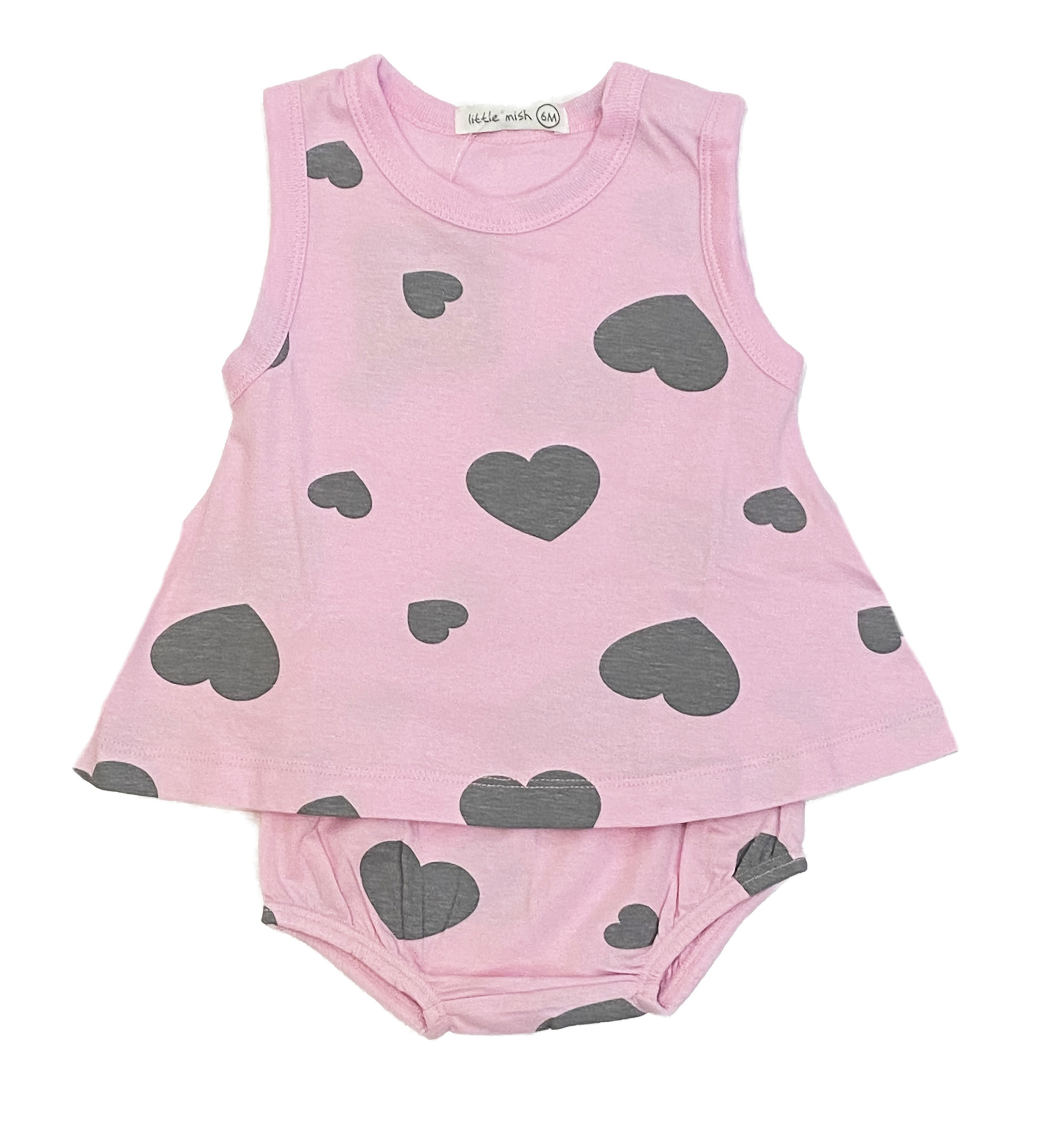 Little Mish Pink/Grey Hearts Swing Set