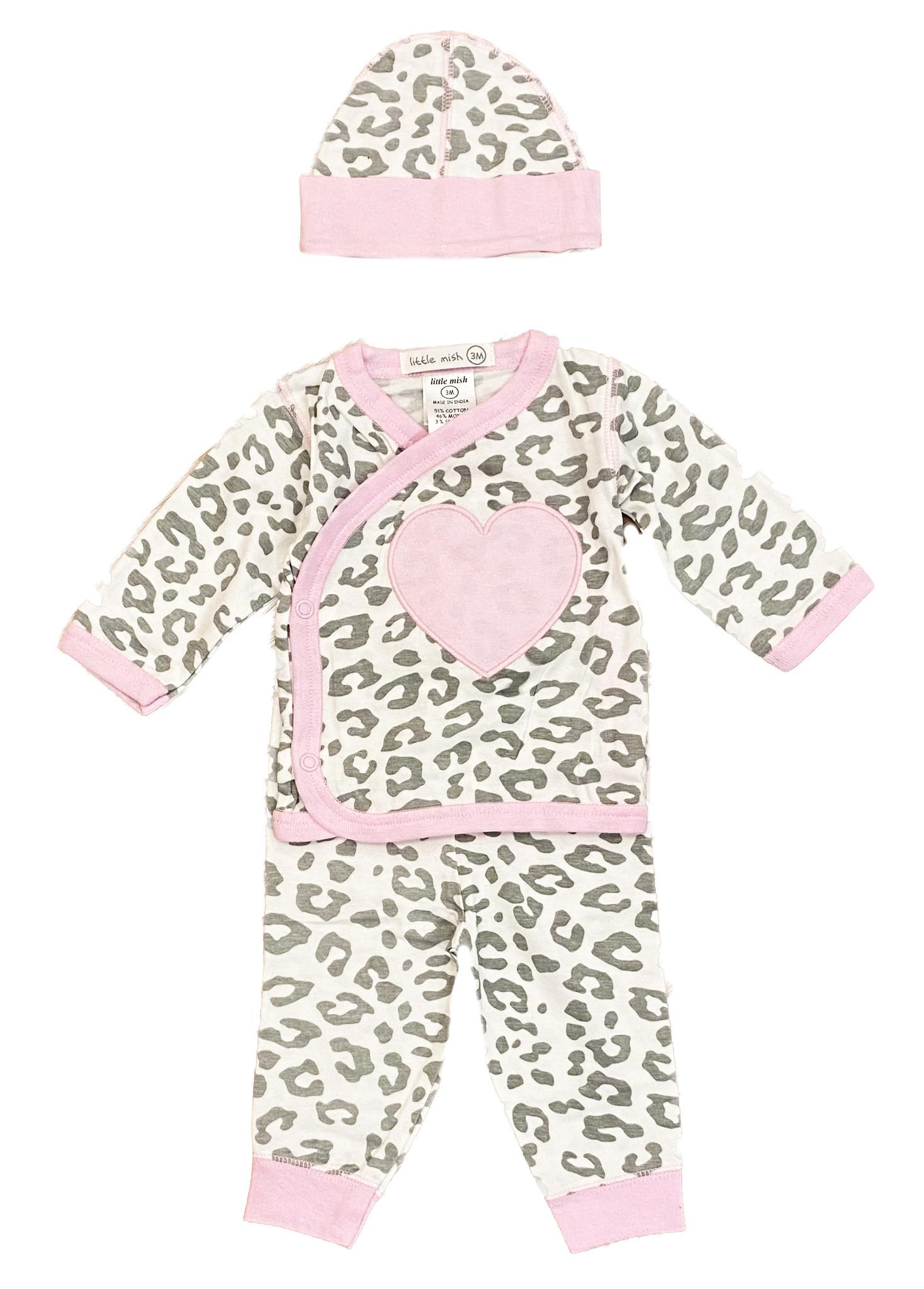 Little Mish White Cheetah 3 Pc Set