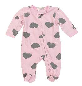 Little Mish Pink/Grey Hearts Footie