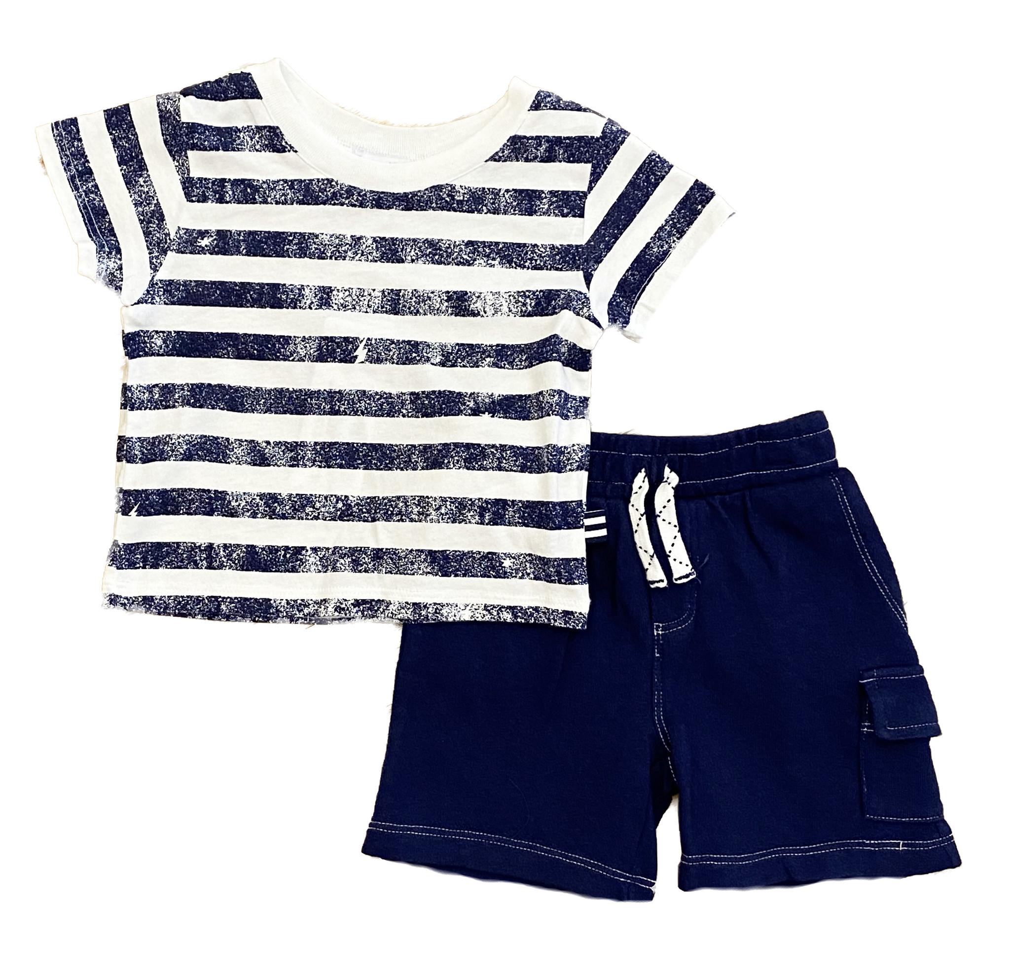 Splendid Navy Slash Stripe Short Set