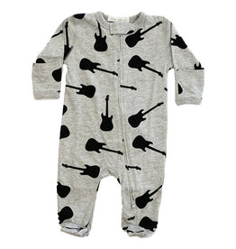 Little Mish Grey/Black Guitars Footie