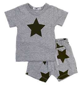 Little Mish Grey/Navy Lg Star Short Set