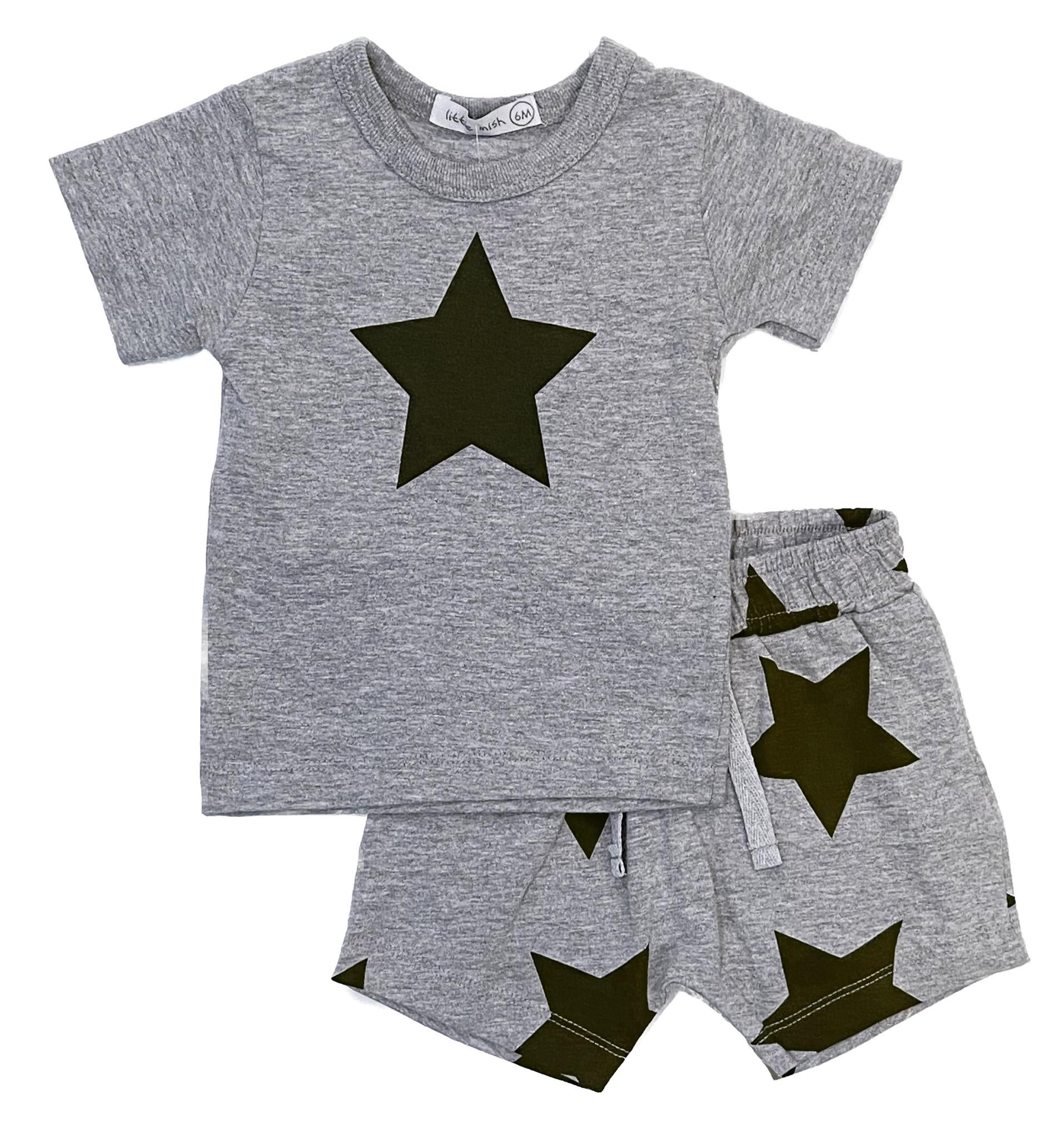 Little Mish Grey/Navy Lg Star Short Set