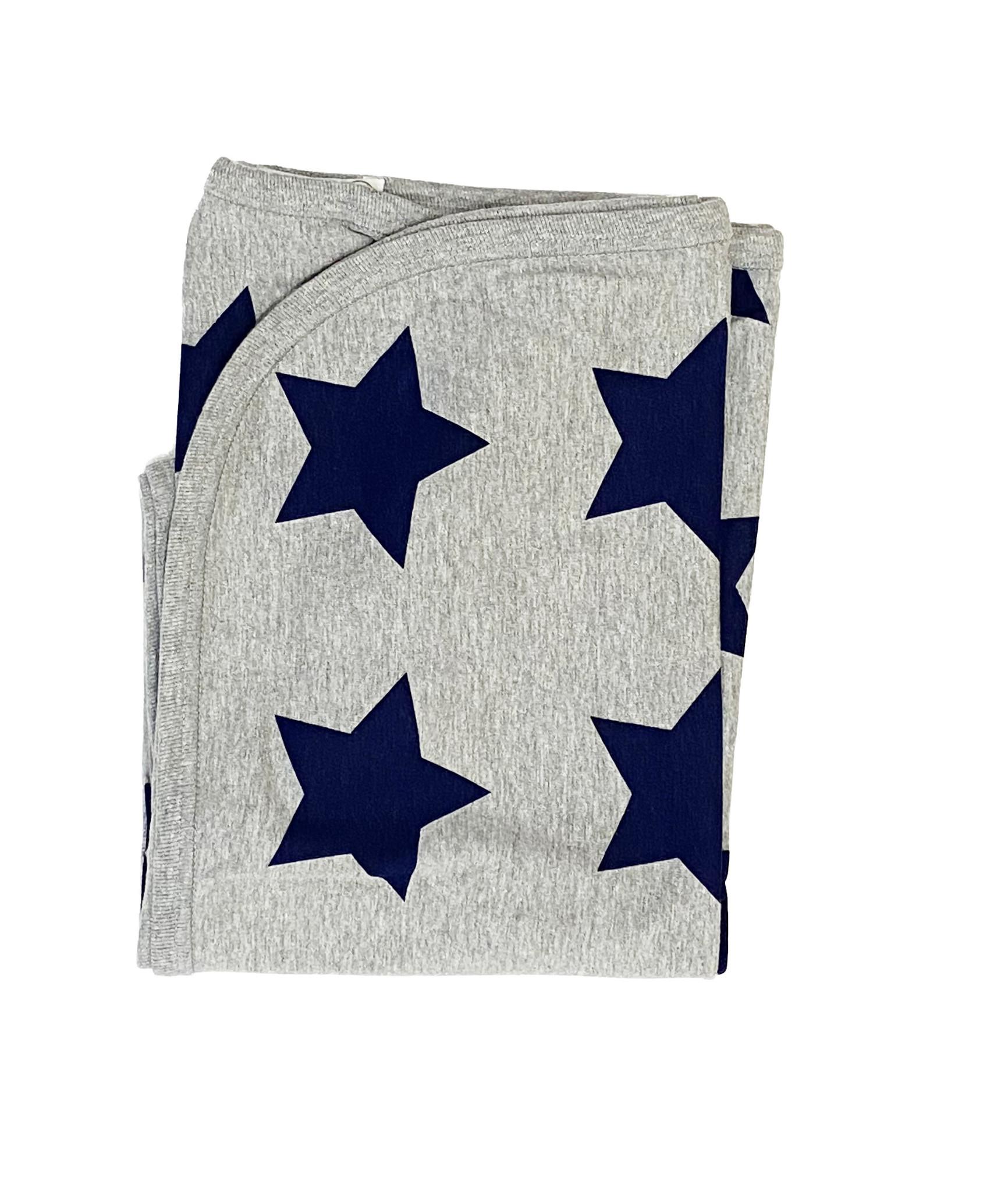 Little Mish Grey/Navy Lg Stars Blanket