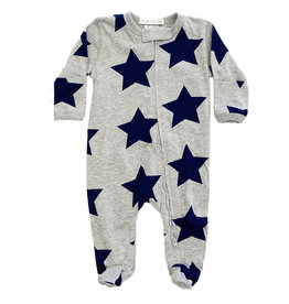 Little Mish Grey/Lg Navy Star Footie