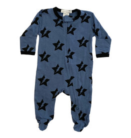 Little Mish Denim Star Bolt Footie