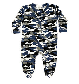 Little Mish Denim Camo Footie