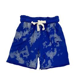 Katie J NYC Cobalt Blue Bleach Ripped Boyfriend Shorts