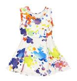 Social Butterfly White Splatter Infant Dress