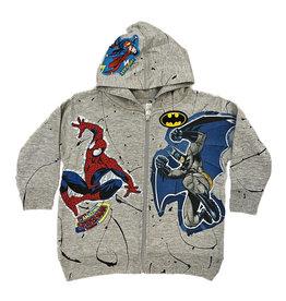 Superhero Grey Splattered Zip Hoodie