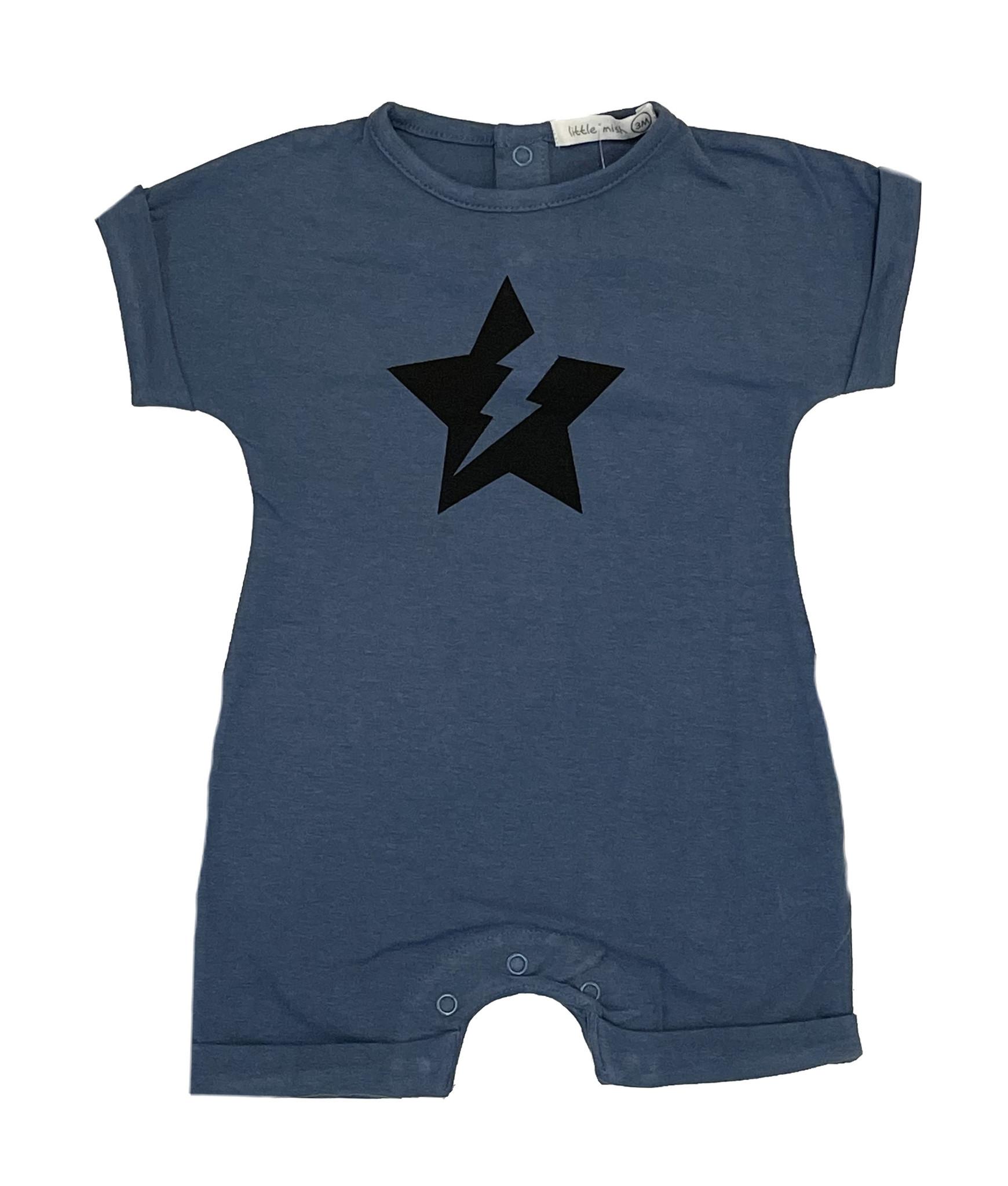 Little Mish Denim Star Bolt Shortall