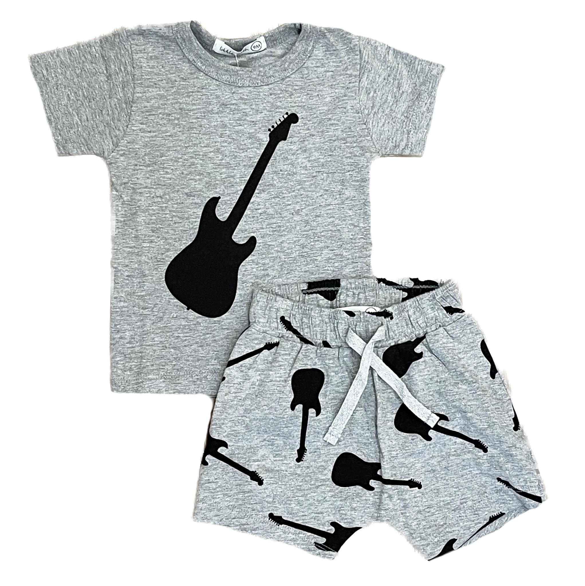 Little Mish Grey/Black Guitars Short Set
