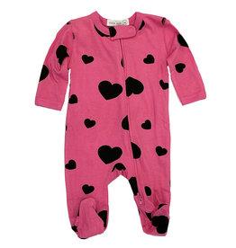 Little Mish Bubblegum Black Heart Footie