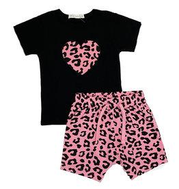 Little Mish Pink Cheetah Heart  Short Set