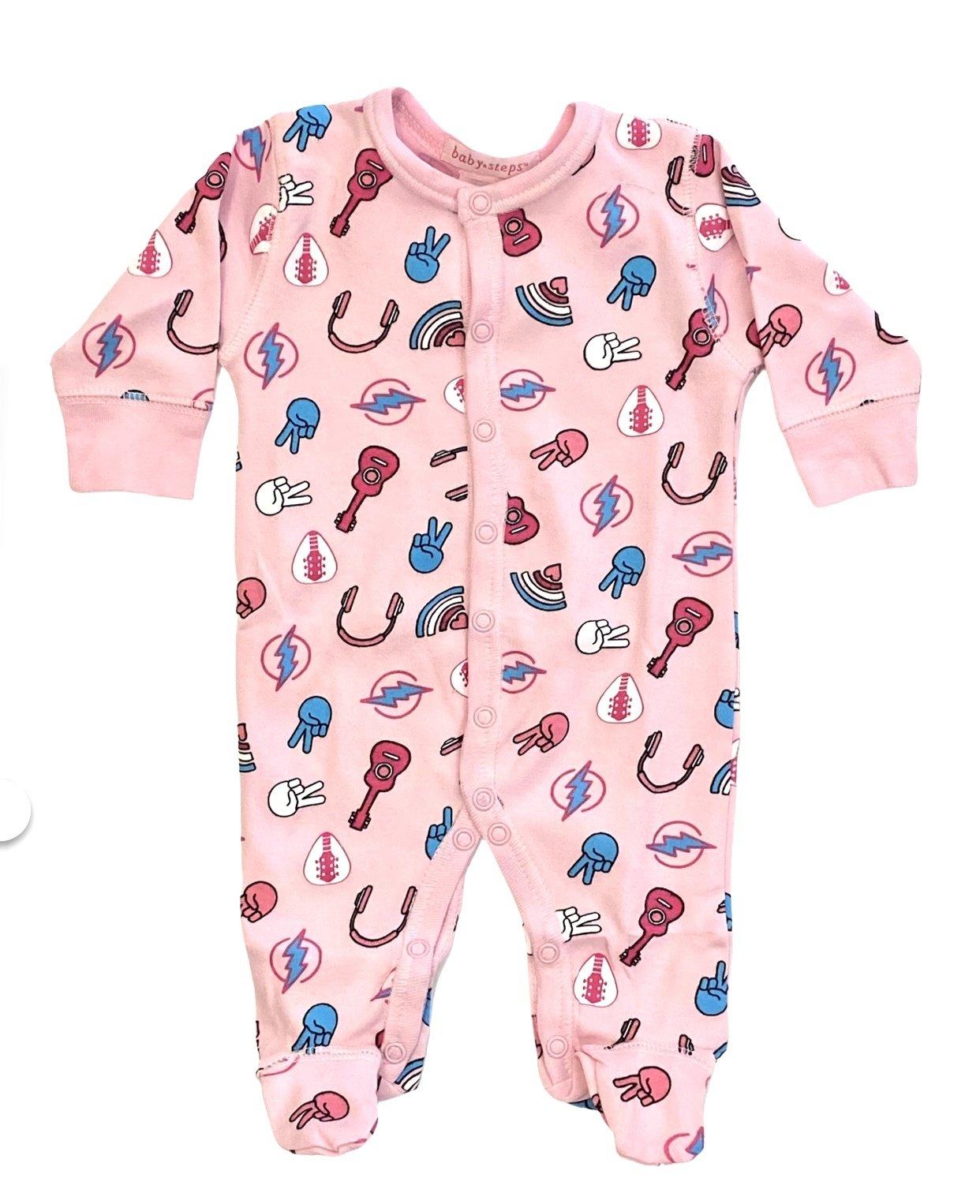 Baby Steps Pink Rock n Roll Footie