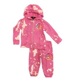 Flowers By Zoe Pink Bleach Peace Infant Sweatsuit