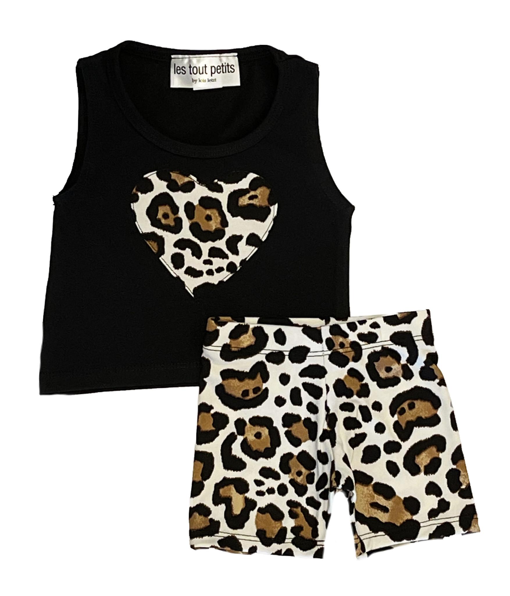 Les Tout Petits Black Leopard Short Set