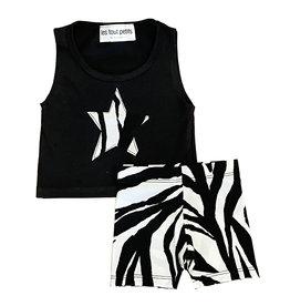 Les Tout Petits Black Zebra Short Set