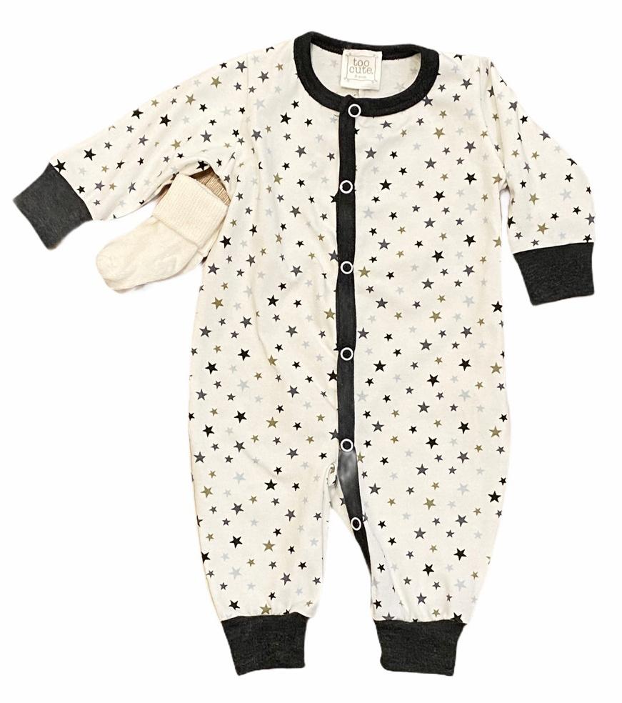 Too Cute Charcoal/Blue Mini Stars Outfit