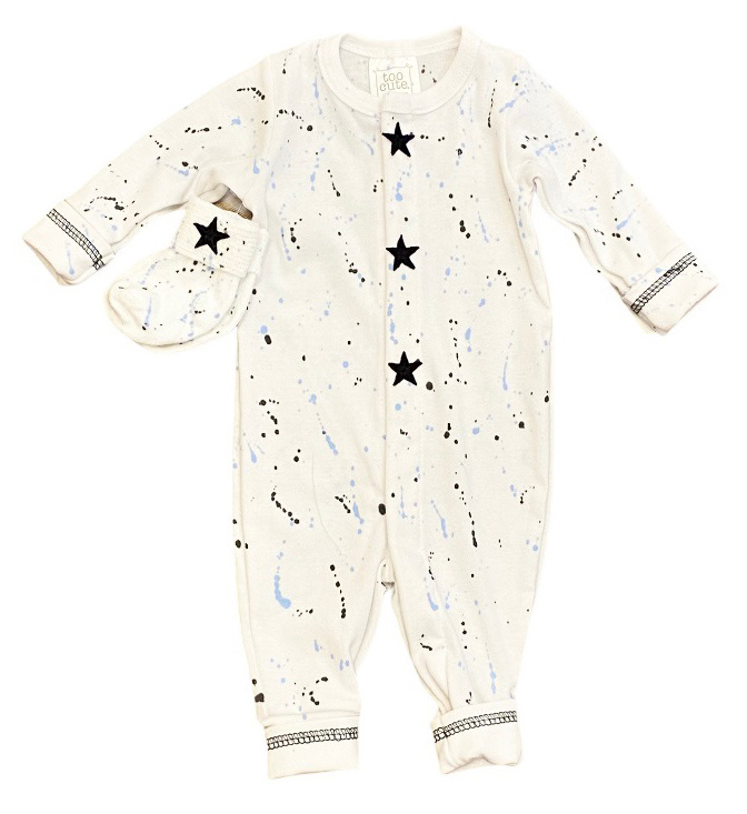 Too Cute White with Blk/Navy Splatter Outfit +Socks