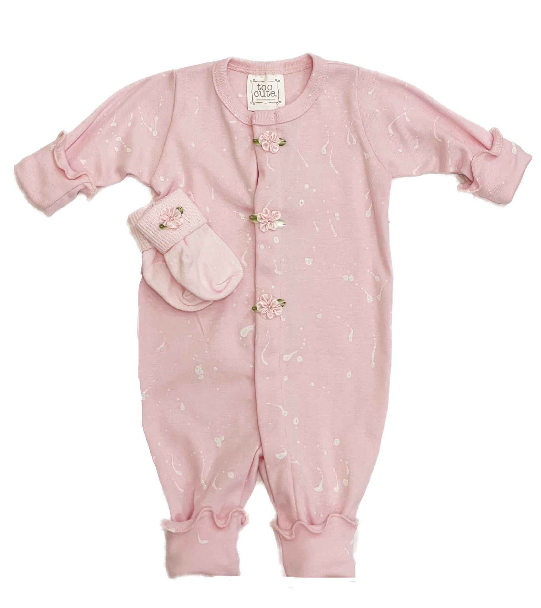 Too Sweet Pink/Wht Splatter Pearl Flower Outfit