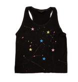 Firehouse Black Splatter Neon Stars Ribbed Tank