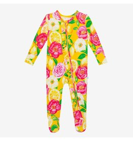 Posh Peanut Annika Sunshine Floral Ruffle Zip Footie