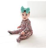 Posh Peanut Roxy Leopard Ruffle Zip Footie