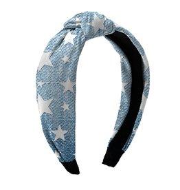 Denim Stars Knot Headband