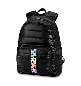 Black Puffer Backpack Gradient Star Strap
