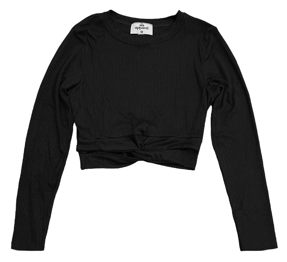 SLS Black Ribbed L/S Twist Top