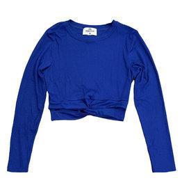 SLS Blue Ribbed Twist Top
