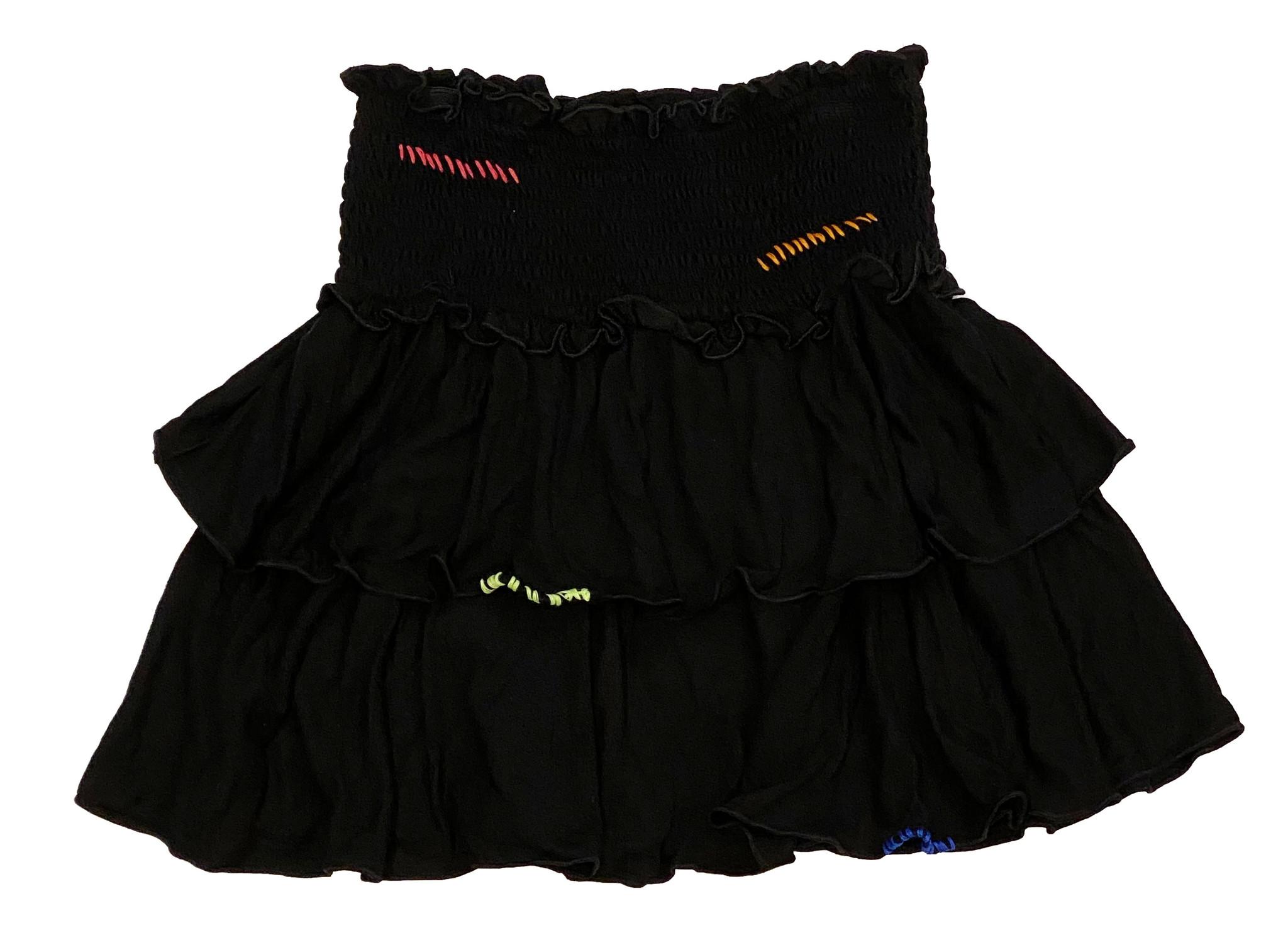 Flowers by Zoe Rainbow Stitched Black Skirt