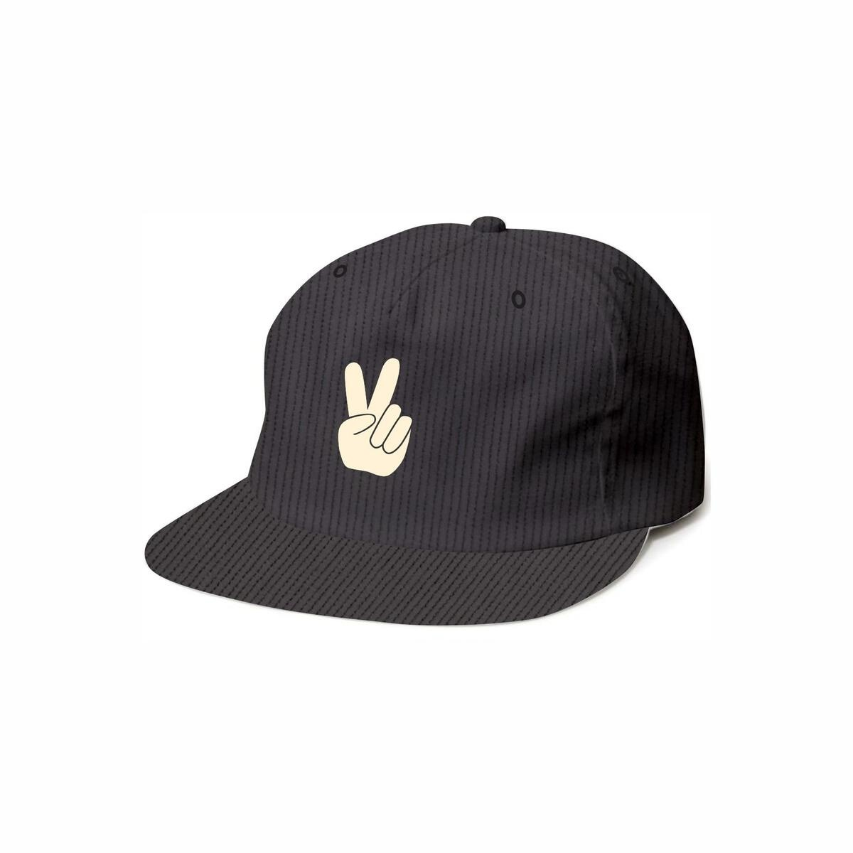 Tiny Whales Black Corduroy Peace Y'all Hat