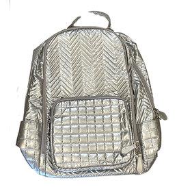 Bari Lynn Silver Chevron Lg. Backpack