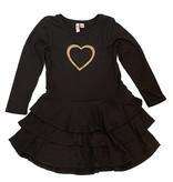 Sofi Black/Gold Heart Dress