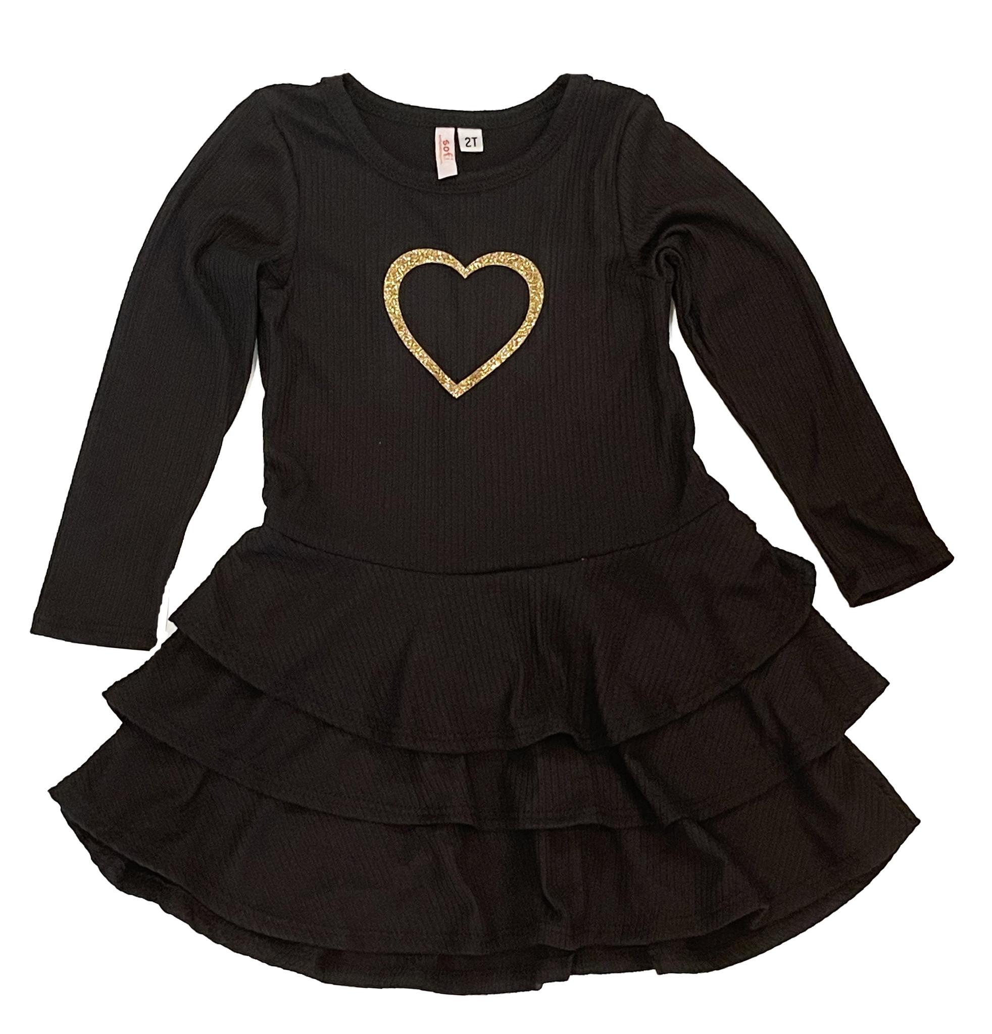 Sofi Black/Gold Heart Dress - Infant