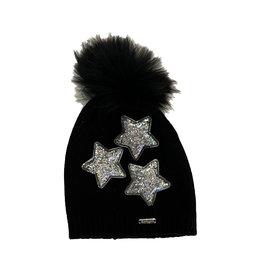 Bari Lynn Black Confetti Star Pom Beanie