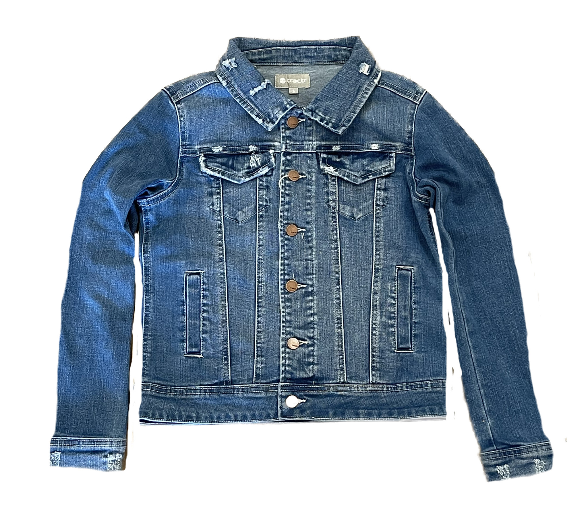 Tractr Distressed Stretch Denim Jacket