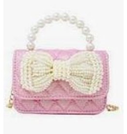 Pink Quilted Pearl Bow Mini Purse