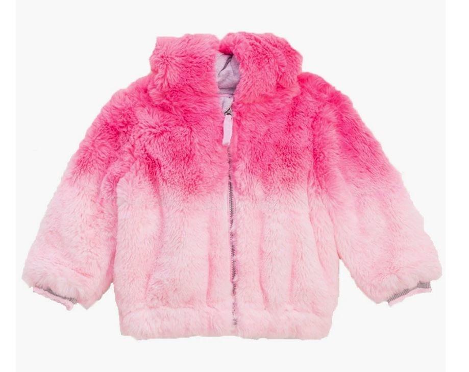 Splendid Pink Dip Dye Fur Jacket