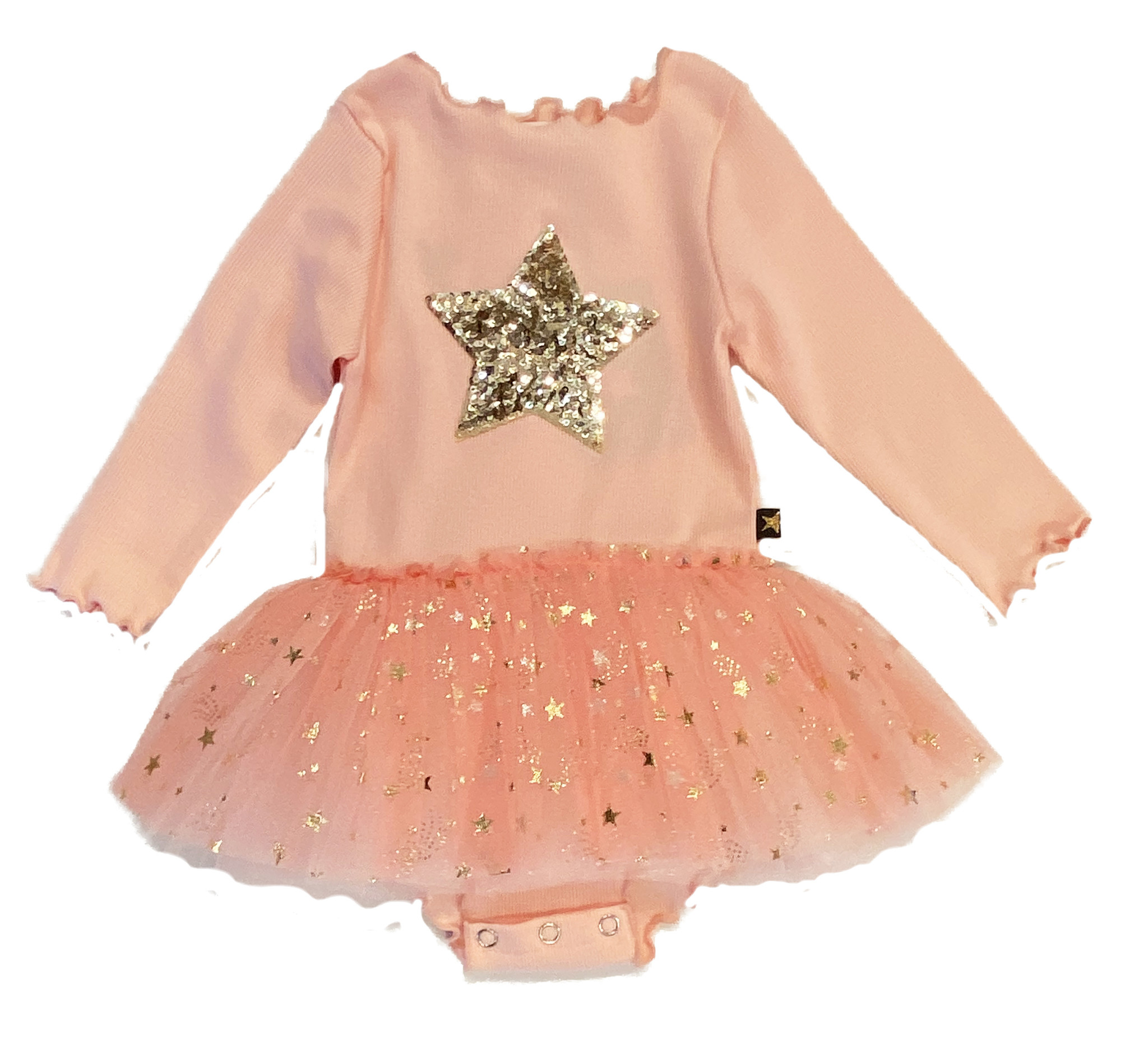 Petite Hailey Pink/Gold Star LS Infant Tutu Dress