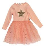 Petite Hailey Pink Gold Star LS Tutu Dress