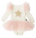 Petite Hailey Ivory/Pink Star Frill Infant Tutu Dress